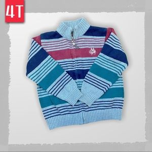 Zip up knit sweater with stripe - size 4T